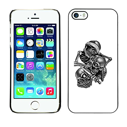 Price comparison product image CASER CASES / Apple Iphone 5 / 5S / Skull Gang B&W / Slim Black Plastic Case Cover Shell Armor