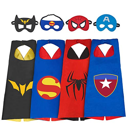 (Roko Toys for 3-10 Year Old Boys, Superhero Capes for Kids 3-10 Year Old Boy Gifts Boys Cartoon Dress up Costumes Party Supplies Stocking Stuffer 4 Pack)