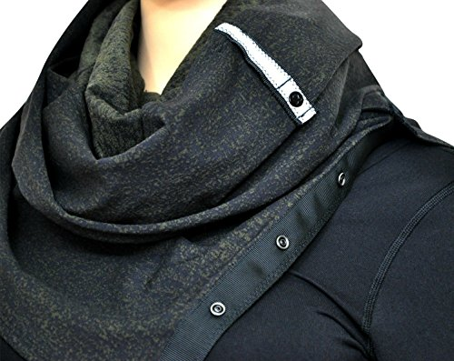 Lululemon Vinyasa Wrap Womens Scarf Jacquard Black Dark Olive Fatigue Green