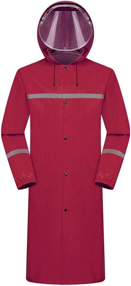 Raincoat Impermeable Largo de una Pieza Doble Cremallera Sombrero Cara máscara Grande Oxford Tela Impermeable for Adultos Camping (Color : C, Size : XXL)