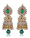 Shining Diva Metal Jhumki Earring For Women (Green)