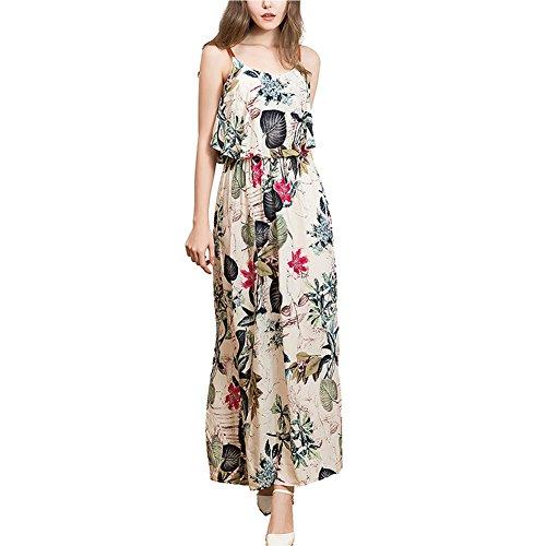 YNYNEW Women's Boho Spaghetti Strap Floral Ruffle Maxi Dress (Asia M/US 2-4, Rose)