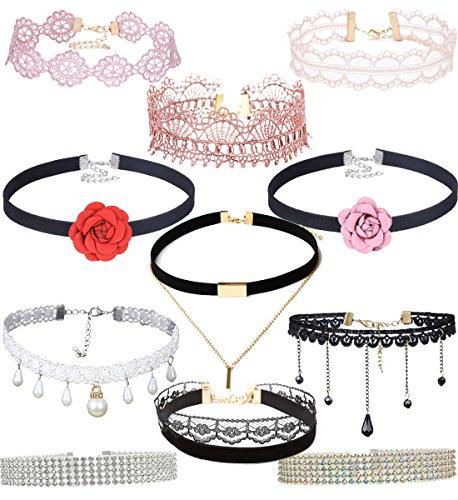 Tpocean 11pcs Black Pink Tattoo Lace Velvet Choker Necklace Set with Beaded Pendants Crystal Rhinestone Neckalce Chockers for Girls Teens
