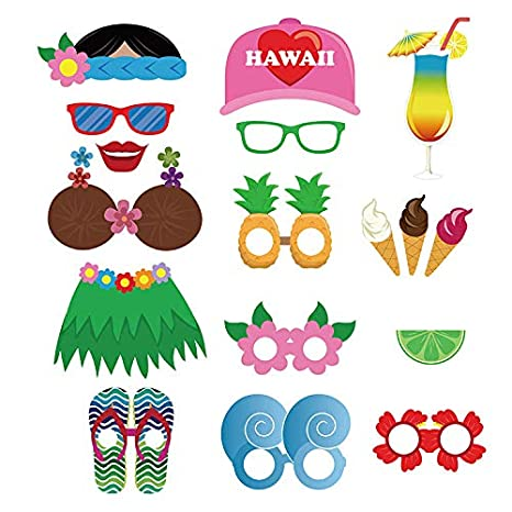 Bay shower,Beach Pool Parties CC HOME 60 Pack Luau Hawaii Themed Photo Booth Props,Selfie Props Photo Booth for Summer Party Supplies,Hawaiian Luau