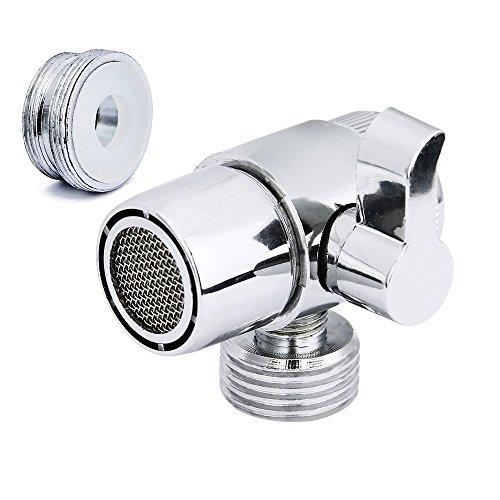 Diverter Valve (M22 X M24), JTDEAL Premium Alloy Shower Diverter Valve for Kitchen or Bathroom Sink Faucet Mental Adapter Single Handle Polished Chrome (Shower Tub Adapter)