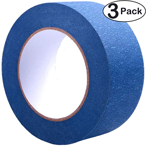 (Blue Painters Tape 2 Inch, 3 Pack - Painting & Masking Tape - Easy and Clean Removal - Multi Surface Use - ISO 9001 Worldwide Quality - Leaves No Residue Behind - (60 Yards) (3 Rolls))