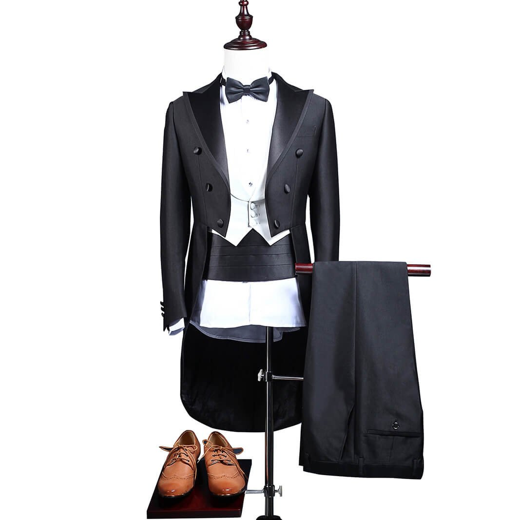 QZI Mens Swallow Tailcoat Suit Tuxedos for Beach Wedding Waistcoat and Jacket Pants