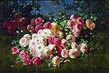 Still life of roses by Abbott Fuller Graves Tile Mural Kitchen Bathroom Wall Backsplash Behind Stove Range Sink Splashback 6x4 4.25'' Ceramic, Matte