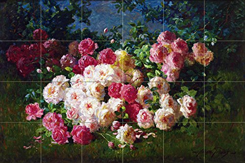 Still life of roses by Abbott Fuller Graves Tile Mural Kitchen Bathroom Wall Backsplash Behind Stove Range Sink Splashback 6x4 4.25'' Ceramic, Matte by FlekmanArt