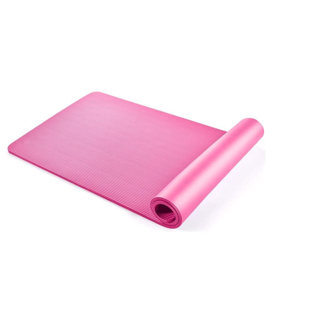 Rose rouge HKJhk Tapis de Yoga pour débutants Tapis Long Hommes et Femmes épaississement élargi à la Maison Tapis de Yoga Deux pièces 10mm