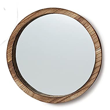 The Rustic Boho Chic Porthole Mirror, 13 3/4 Inches Diameter, Glass and Sustainable Wood, By Whole House Worlds