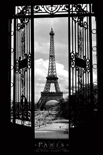 Eiffel tower in 1909 paris black and white photography poster print 24
