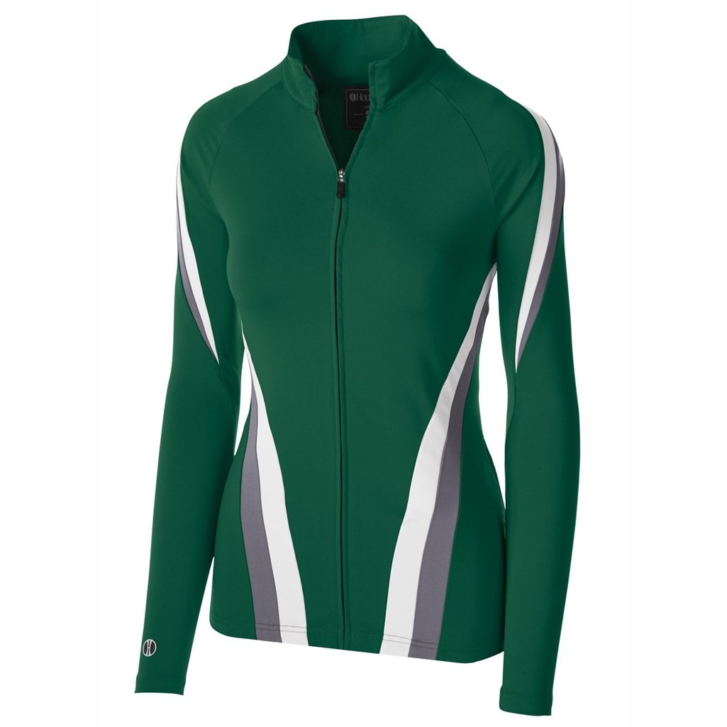 Holloway Dry Excel Ladies Aerial Semi Fitted Jacket (Large, Forest/Graphite/White) by Holloway