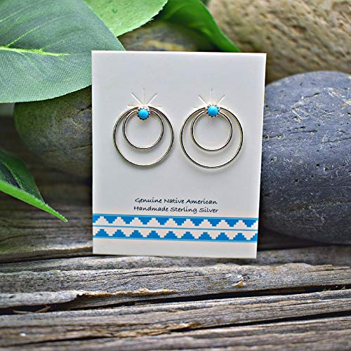 Genuine Sleeping Beauty Turquoise Stud Earrings in 925 Sterling Silver, Authentic Navajo Native American, Handmade in the USA, Nickle Free