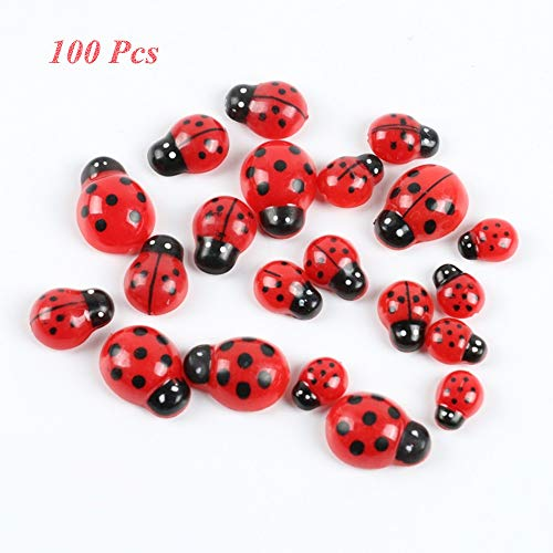 (Self-Adhesive Wooden Ladybugs Baby Shower Fairy Garden Fence Decoration Outdoor Wedding Back Yard Wall Sculptures Crafting Lady Bugs Mason Jars Valentines Day Party Gift Banquet Decor Name Tag (Mini/S)