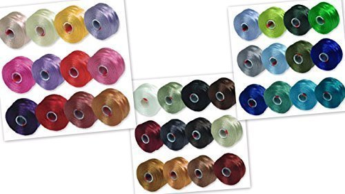 S-Lon Beading Thread Mixture Colors Size D - Neutrals Mix, Flower Colors and Blues and Greens Mix - 36 Colors Total