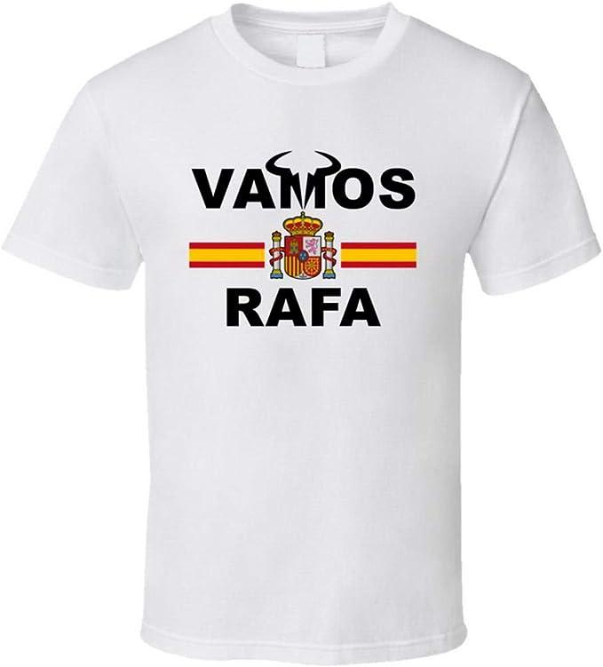 N/Y Rafael Nadal Vamos Rafa Bandera Española Favorita Tenista Fan Camiseta Blanca: Amazon.es: Ropa y accesorios