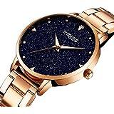 GuTe Women Quartz Watch,Rose Gold Stainless Steel Blue sandstone Dial Analogue Quartz Lady Dress Watch ¡