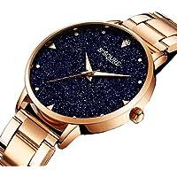 Gute Women Quartz Watch,Rose Gold Stainless Steel Blue Sandstone Dial Analogue Quartz Lady Dress Watch