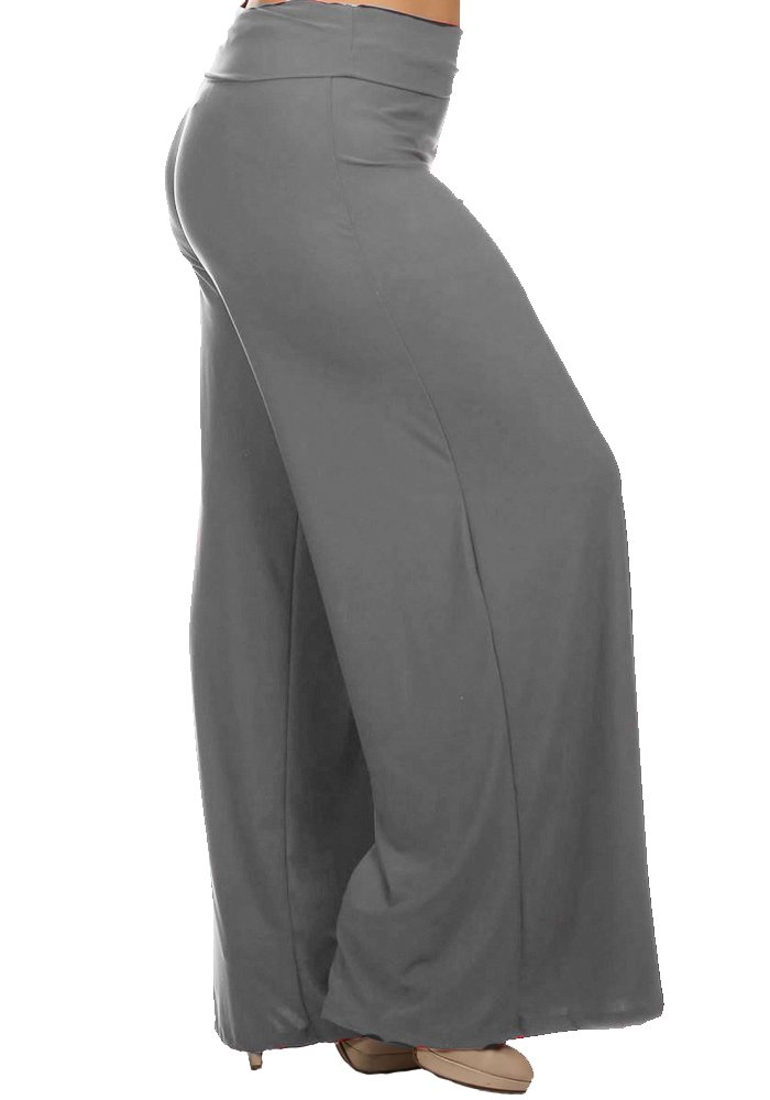 Plus Size Petite 26'' Inseam Palazzo Pants Casual Fold Over Waist Stretch Rayon (2x, Charcoal Grey)