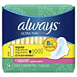 Always Ultra Thin, Size 1, Regular Pads With Wings, Scented, 16 Count, Packaging May Vary