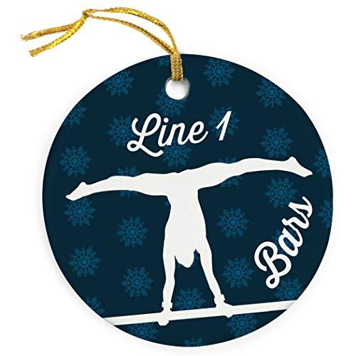 ChalkTalkSPORTS Personalized Gymnastics Porcelain Ornament | Bars Christmas Ornament | Blue by ChalkTalkSPORTS