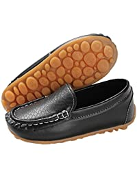 753943eca9c59 Kids Boys Girls Loafers Slip on Soft Synthetic Leather Boat Dress School  Shoes Flat(Toddler