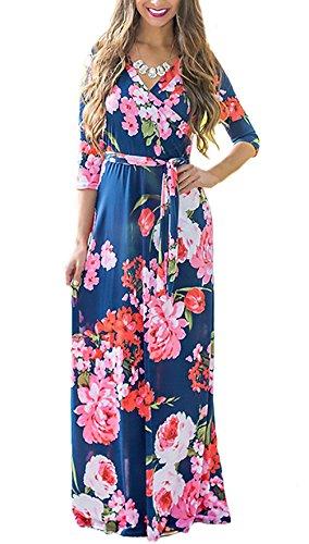 5f30e37ad2a Sommerkleider Damen Lang Festlich Elegant Blumen V Ausschnitt 3 4 Ärmel A  Linie Strandkleider Vintage