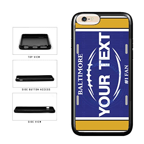(BleuReign(TM) Personalized Custom Name Football Baltimore License Plate TPU RUBBER SILICONE Phone Case Back Cover For Apple iPhone 7)