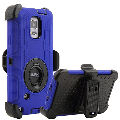 Note 4 Case, Galaxy Note 4 Case,ULAK Heavy Duty Shockproof Protection Shell Hybrid Rugged for Samsung Galaxy Note 4 Case Rubber Built-in Rotating Kickstand Belt Swivel Clip Holster Note 4(Blue/Black)