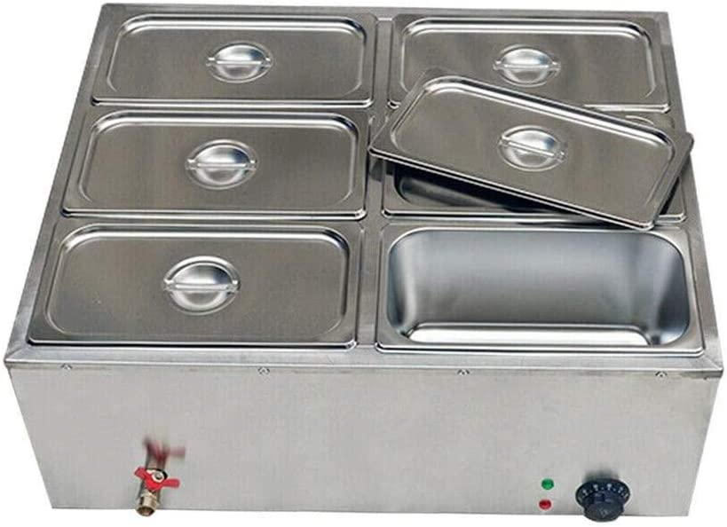 Commercial Food Warmer Steamer, 6-Pan 1.84Gal Stainless Steel Electric Countertop Bain Marie Buffet Steam Table with Covers for Restaurants and Catering