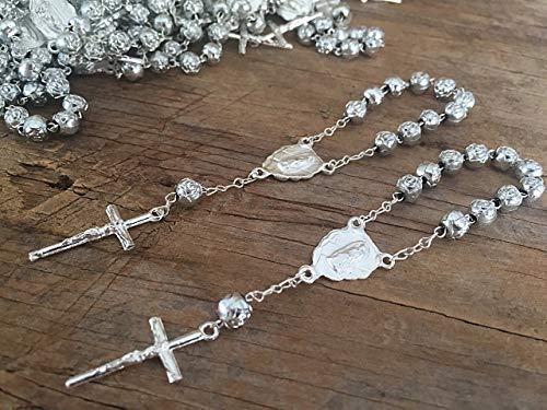 Beads Metallic 25 (25 Silver Plated baptism Favors acrylic beads/recuerdos de bautizo en color plata/communion favors/mini rosaries)