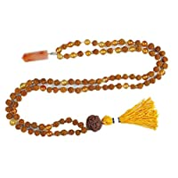 Boho Healing Yoga Necklace Reiki Carnelian Pendants with Rudraksha Sacrad Chakra Jewelry