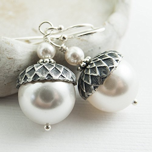Acorn Drop Earrings (Acorn Earrings made with White Crystal Simulated Pearls from Swarovski, Sterling Silver Earwires)