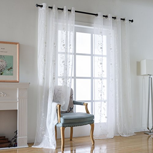 Crushed Sheer 84 Inch Curtain - Kotile Floral Embroidered Translucent Voile Sheer Drapes for Bedroom, 84 inches Long Rustic Crushed Texture Sheer Window for Patio Curtain Set Eyelet Drapes (2 Panels, White)