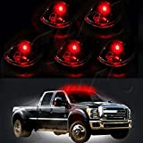 CCIYU 5 Pack Smoke Cab Clearance 822072AC Marker Light with Base Housing + T10 6SMD Red LED Light For Truck SUV