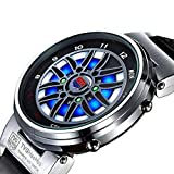 TVG Fashion Men Boys Sports Watches Creative Car Roulette Blue Led Dispaly Binary Watch Men (silver)
