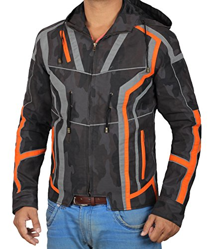 Tony Stark Infinity War Hooded Jacket Avengers 3 - Mens Black Camouflage Iron Man Jacket Shop | M