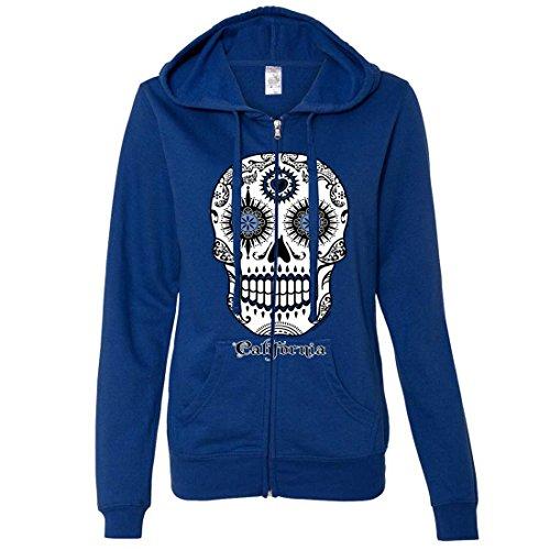 California Republic Sugar Skull Ladies Zip-Up Hoodie - Cobalt XX-Large