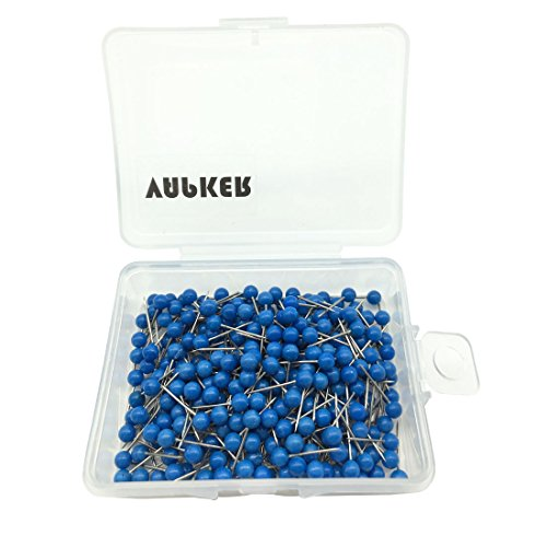 VAPKER 1/8 Inch Map Tacks Round Plastic Head Push pins with Stainless Point(Box of 300 Blue Color pins)