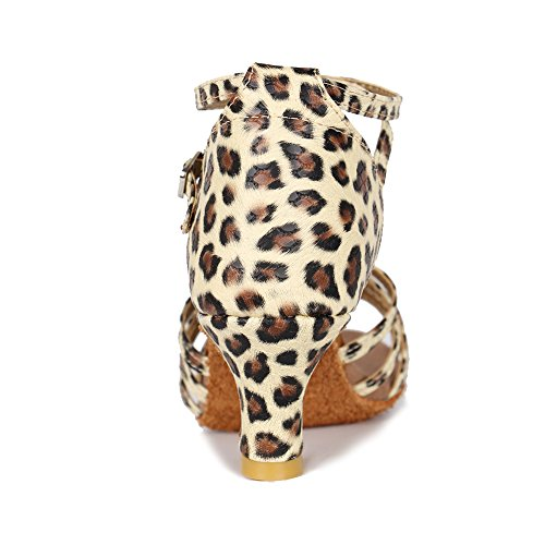 Roymall Model Satin Leopard Latin 5cm 213 Women's Dance Shoes rUPHrW1Aqn