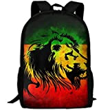 Reggae Rasta Flag Lion Black School Backpack - Unisex Student Stylish Laptop Book Bag Daypack