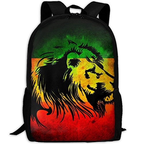 Reggae Rasta Flag Lion Black School Backpack - Unisex Student Stylish Laptop Book Bag Daypack by SAPLA