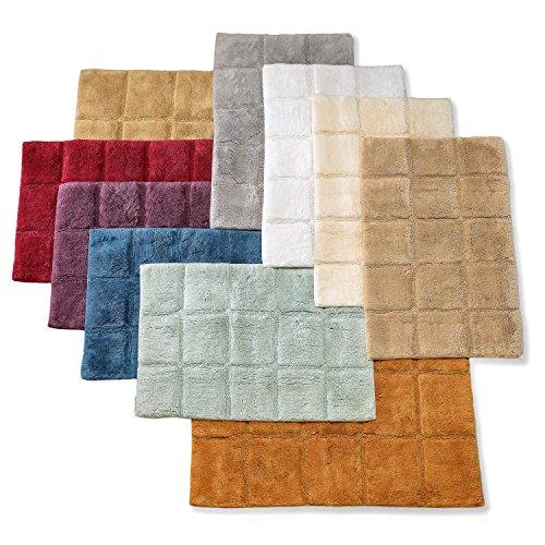519re9DVl6L - Superior Collection Luxurious Cotton Checkers Non-skid 2-piece Bath Rug Set
