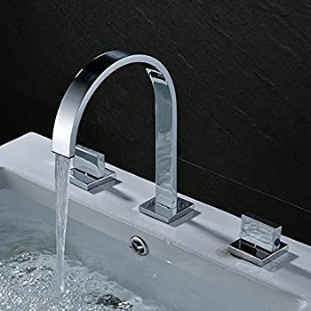 Aquafaucet Waterfall 8-16 Inch Chrome Finish 3 Holes 2 Handles ...