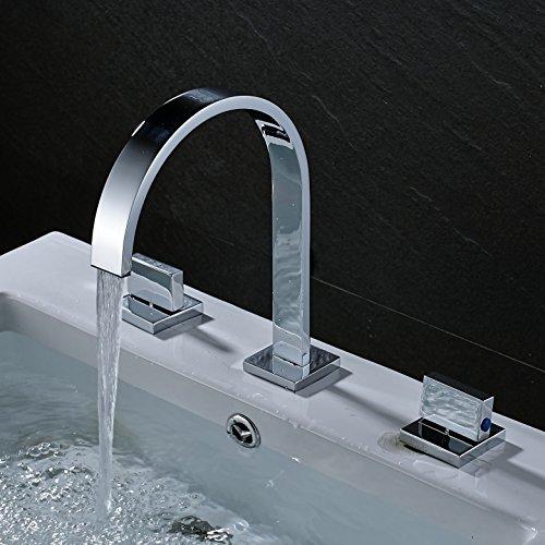 Rozin Two Handles Bath Mixer Taps Widespread Waterfall Bathroom Sink Faucet or Bath Tub Faucet Chrome Unique Designer Vanity Cooper Plumbing Fixtures Roman Tub Faucets Glacier Bay Faucets