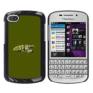 iKiki Tech / Estuche rígido - Fish Green Art Food Maki Art Minimalist - BlackBerry Q10