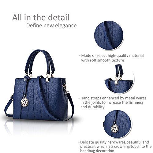NICOLE&DORIS Bolso de las mujeres de moda Crossbody bolso de hombro para las damas impermeable Totes PU suave PU Azul Azul