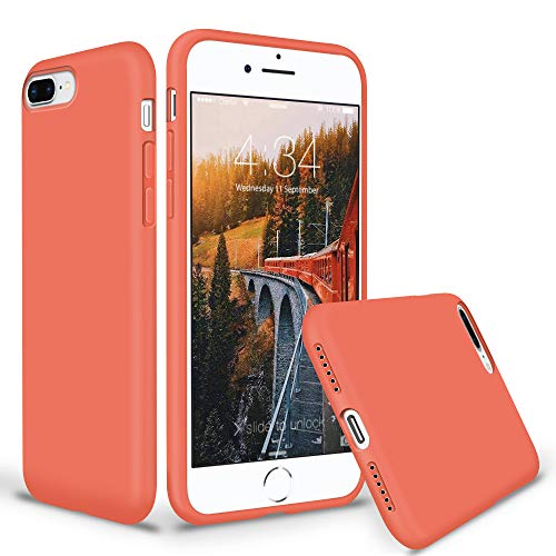 (SURPHY Silicone Case for iPhone 8 Plus iPhone 7 Plus Case, Thicken Liquid Silicone Shockproof Protective Case Cover (Full Body Thick Case, Microfiber Lining) for iPhone 8 Plus 7 Plus 5.5, Nectarine)