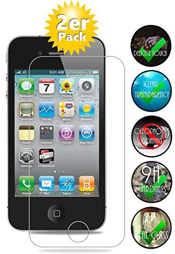 Smartphone-Equipment [2er Pack] Panzerglas für Apple iPhone 4, 4S gehärtetes Glas 9H, Echtglas Glasfolie Schutzfolie…